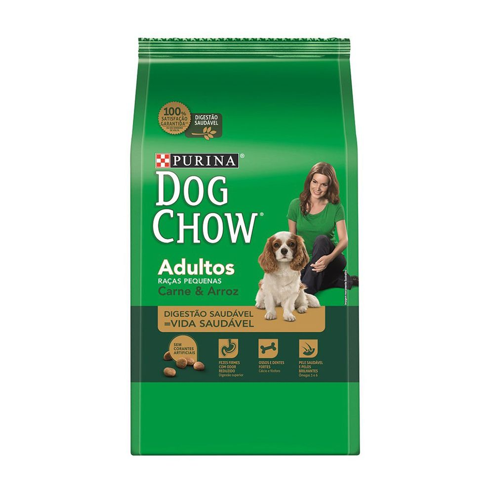 ra??o purina dog chow para c?es adultos de ra?as pequenas sabor carne e arroz 15kg