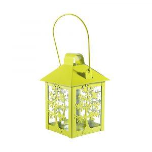 Lanterna Decorativa Verde de Aço para Vela SA188099