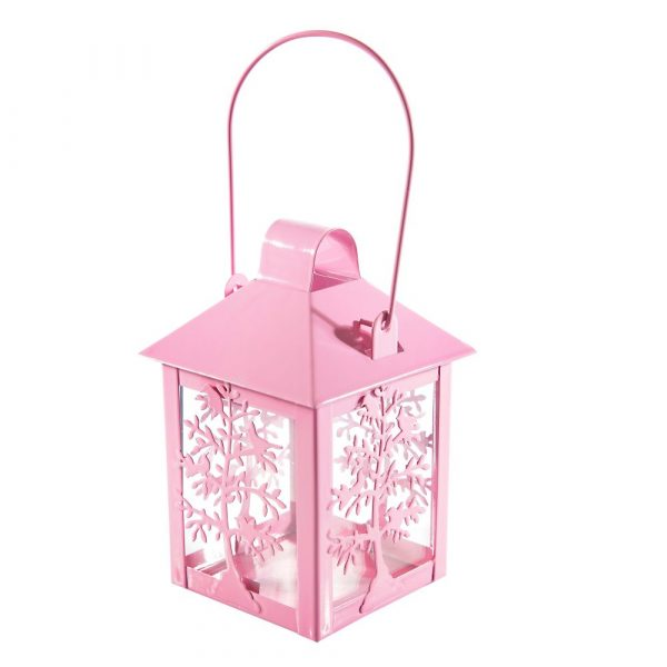 Lanterna Decorativa Rosa de Aço para Vela SA188099