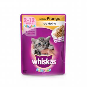 Ração Whiskas Sachê para Gatos Filhotes Sabor Frango 85g