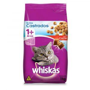 Ração Whiskas para Gatos Castrados Sabor Carne 1Kg