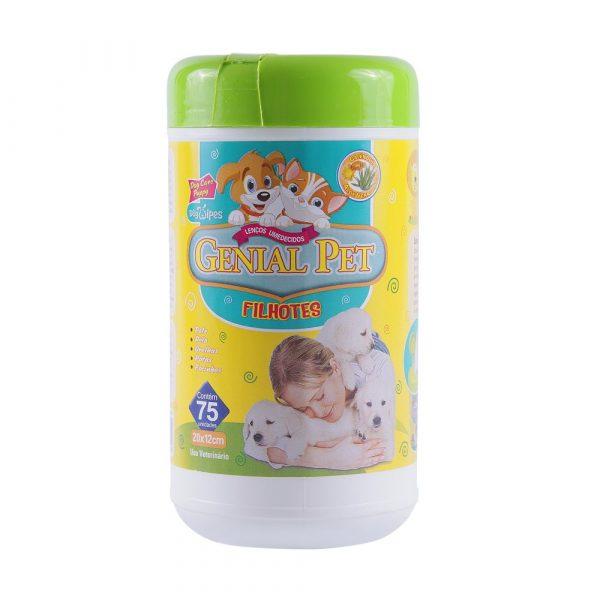 Lenço Umedecido para Filhotes Genial Pet 75Und