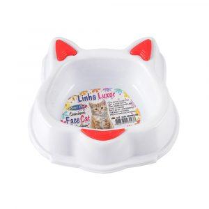 Comedouro Luxor Face Cat 130mL Vermelho 943 Plast Pet