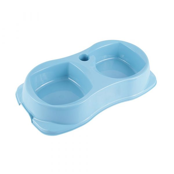 Comedouro Duplo Zoo Plast Médio Azul
