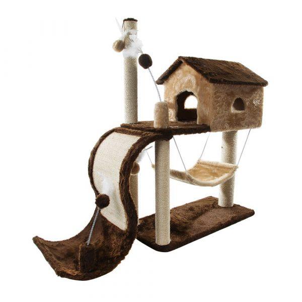Arranhador House Tobogã Marrom e Bege São Pet W-1861-31