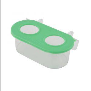 Comedouro com 2 Furos Cristal Jel Plast Verde