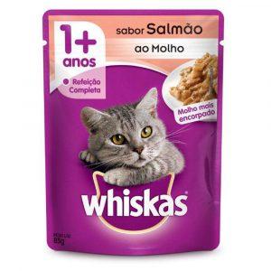 Ração Sachê Whiskas para Gatos Adultos Sabor Salmão 85g