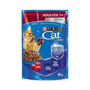 Ração Cat Chow Sachê para Gatos Adultos 7+ Carne ao molho 85g