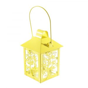 Lanterna Decorativa de Aço para Vela Amarela SA188099