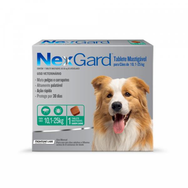 Antipulgas e Carrapatos NexGard 68 mg - Cães de 10,1 a 25 Kg