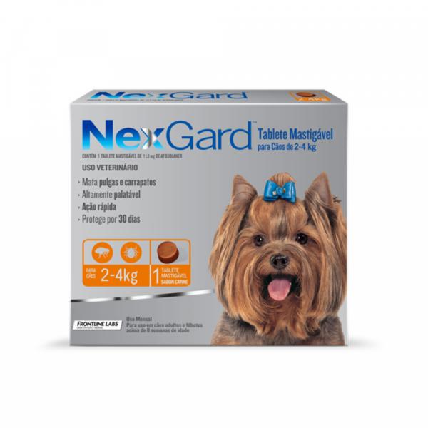 Antipulgas e Carrapatos NexGard 11,3 mg - Cães de 2 a 4 Kg