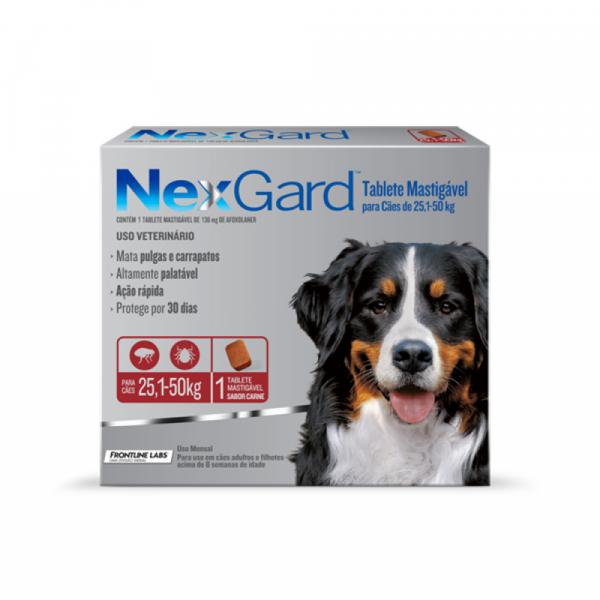 Antipulgas e Carrapatos NexGard 136 mg - Cães de 25,1 a 50 Kg