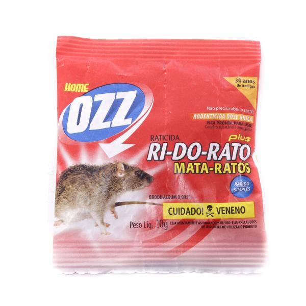 Raticida OZZ RI- DO- RATO Plus Cartela de 20g