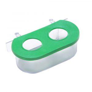 Comedouro Oval Grande com Gancho 2 Furos Verde 388440