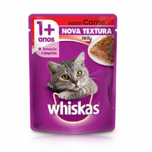 Ração Whiskas Sachê Jelly para Gatos Adultos Sabor Carne 85g