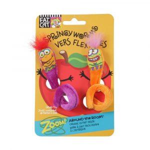 brinquedo para gato springy worms roxo/laranja