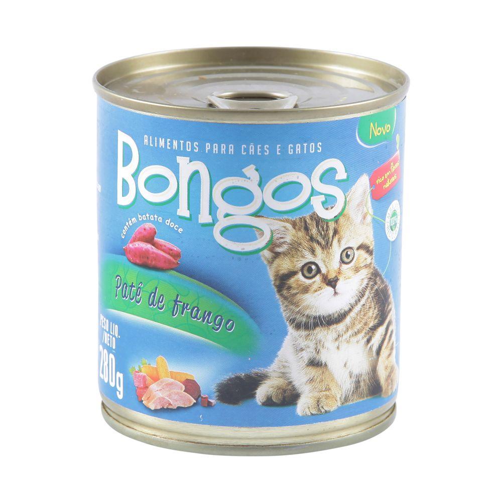ra??o bongos lata para gatos sabor pat? de frango 280g