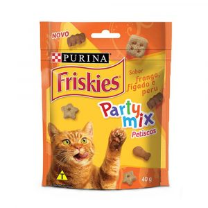 petiscos para gatos friskies party mix sabor frango f?gado e peru