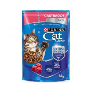 ra??o cat chow sach? para gatos adultos castrados sabor carne ao molho 85g