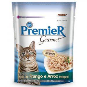 ra??o premier gourmet para gatos adultos sabor frango e arroz 70g