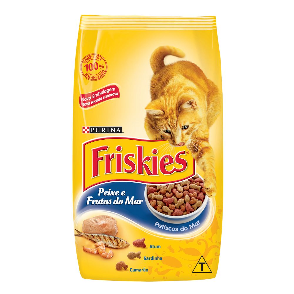 ra??o purina friskies para gatos adultos sabor peixes e frutos do mar petiscos do mar sabor atum, sardinha e camar?o 3kg
