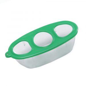 comedouro para p?ssaro plast pet m?dio com 3 furos verde 386790