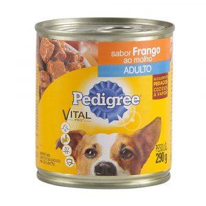 ra??o pedigree lata para c?es adultos sabor frango ao molho 280g