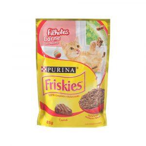 ra??o friskies sach? para gatos filhotes sabor carne ao molho 85g