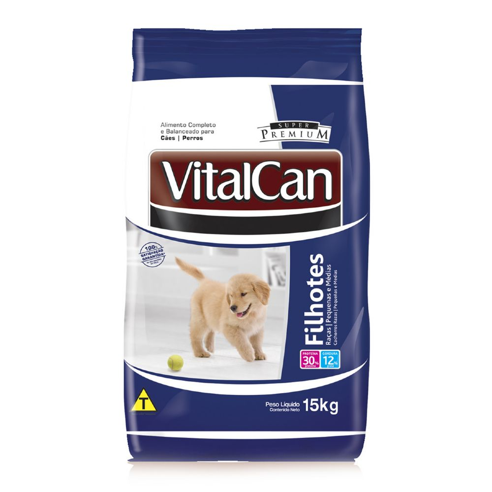 ra??o vitalcan super premium c?es filhotes de ra?as pequenas e m?dias 15kg