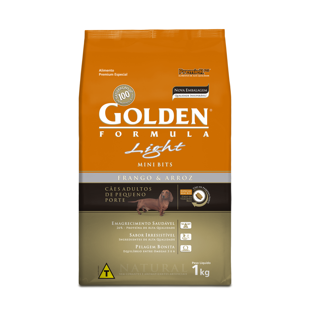 ra??o golden f?rmula light para c?es adultos de pequeno porte mini bits 1kg