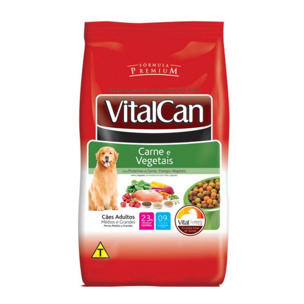 ra??o vitalcan premium c?es adultos ra?as m?dias e grandes sabor carne e vegetais 15kg
