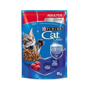 ra??o cat chow sach? para gatos adultos sabor carne ao molho 85g