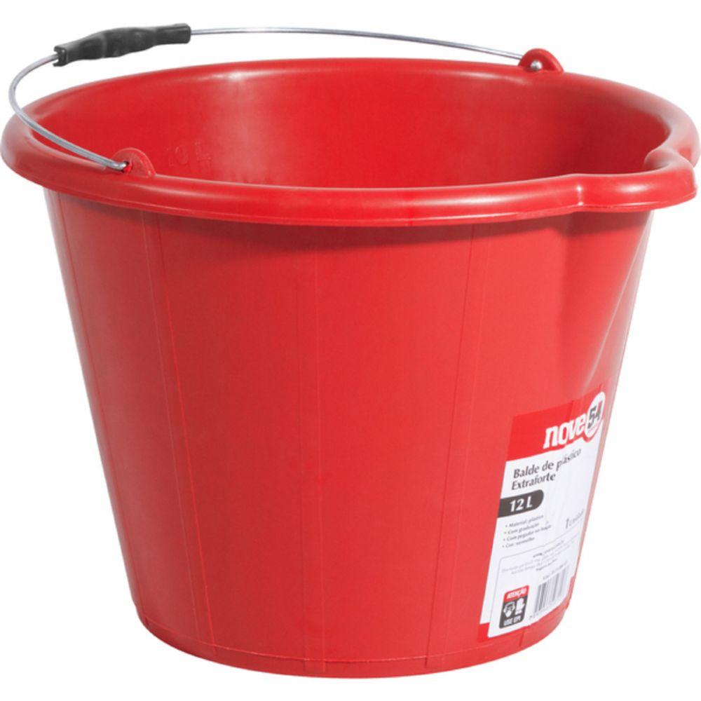 balde plastico extraforte 12l vermelho