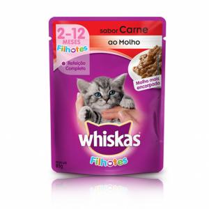 ra??o whiskas sach? para gatos filhotes sabor carne ao molho 85g