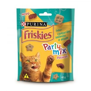 petiscos para gatos friskies party mix sabor camar?o, salm?o e atum 40g