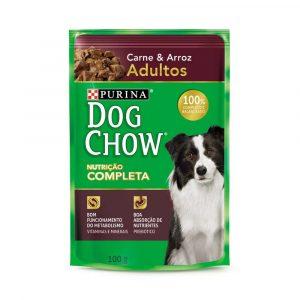 ra??o dog chow sach? para c?es adultos sabor carne e arroz 100g
