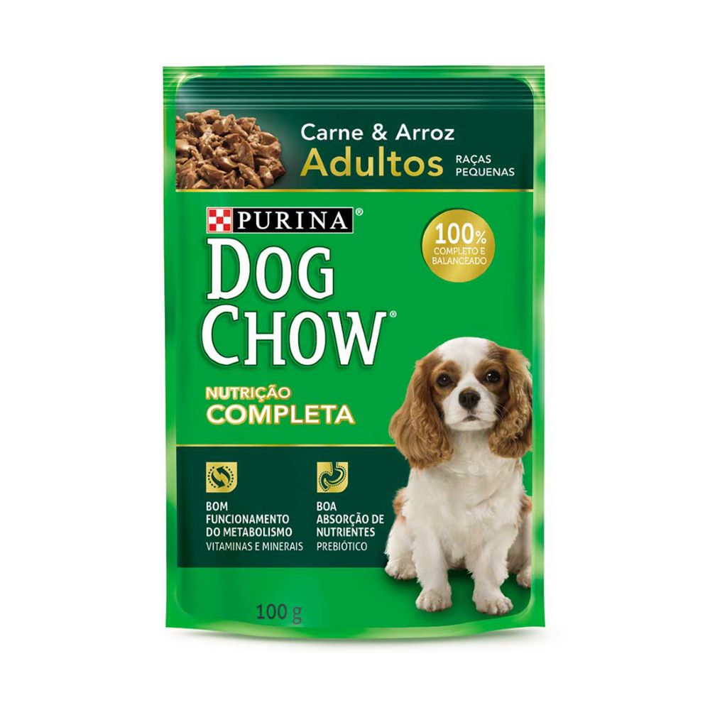 ra??o dog chow sach? para c?es adultos de ra?as pequenas sabor carne e arroz 100g