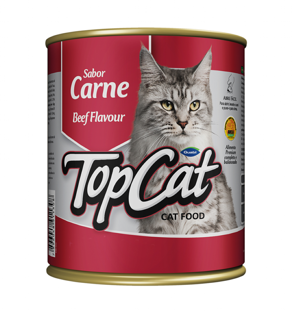 ra??o top cat lata para gatos sabor carne 290g
