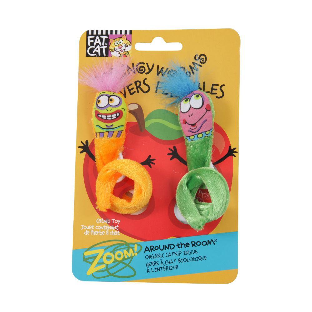 brinquedo para gato springy worms laranja/verde