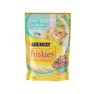 ra??o friskies sach? para gatos adultos sabor mix de peixes ao molho 85g