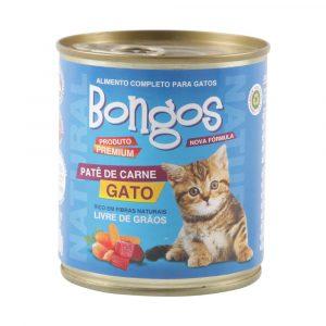 ra??o bongos lata para gatos sabor pat? de carne 280g