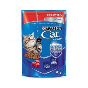 ra??o cat chow sach? para gatos filhotes sabor carne ao molho 85g